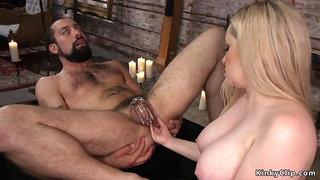 Busty femdom anal fisting beardy man