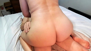 Wife getting another guy off by rubbing pussy on his cock