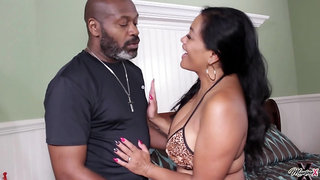 Old black stud fucks younger whore on the bed
