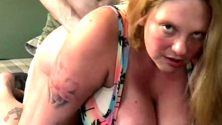 Chubby skank with large bosom gets rammed from behind