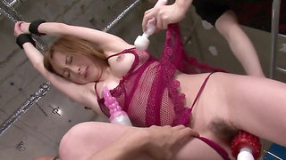 Young men stimulate Asian's main erogenous zone with sex toys
