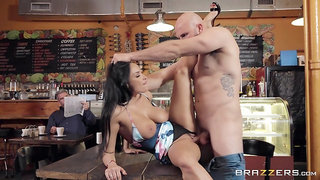 Bald dude hard fucks busty waitress in remarkable public scenes