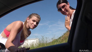 Outdoors MMF threesome between two older guys and slutty Izabela