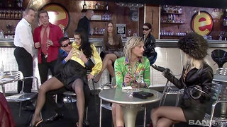 Three hot Eurobabes squirt each other with pussy juice in orgy at the cafe