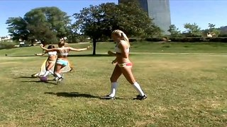 Sporty girls have a pool party and a hot lesbian toy orgy