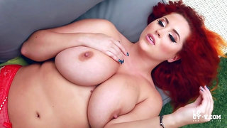 Gorgeous curvy plus size redhead Lucy - Striptease outdoor in sexy red lingerie