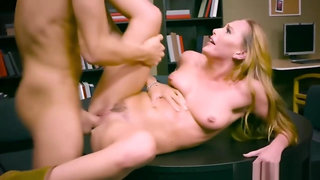 Blonde Carter is fuck inside a library