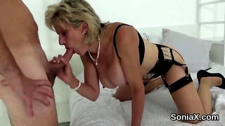 Unfaithful british milf lady sonia shows off her big titties