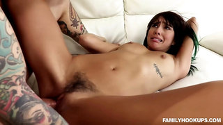 Tattooed man is about to fuck his best friends girlfriend, Janice Griffith and make her scream