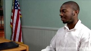 Interracial Office Sex with Sara Jay
