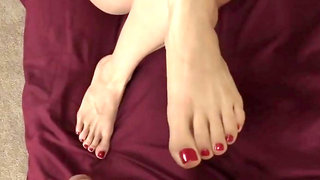 Stroking YOUR dick with my hands and feet til you cum on my toes