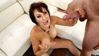 Busty brunette MILF Vanessa Videl feels his huge young dick