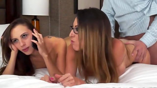 Fuck Two Babes while they share a phone call