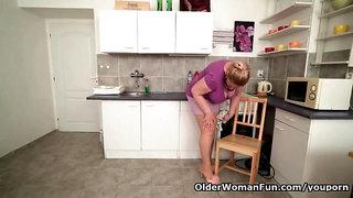 Euro BBW gilf Dita gets turned on in kitchen