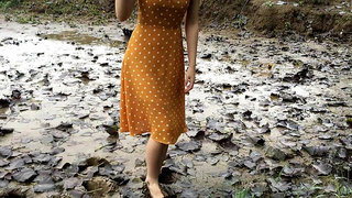 Chinese girl in mud