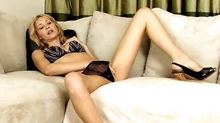 Leggy babe Sabrina Rose bangs a dildo