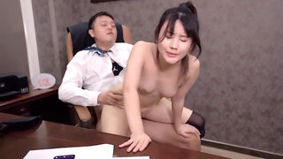 Chinese office porn - boss fucks perky tits secretary - anal with cumshot