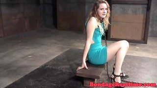 Sub babe chained up and dominated