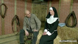 German nun gets fucked in the barn by younger stud
