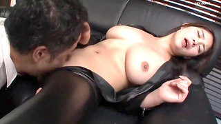 Big tits japanese MILF in leather cloth hardcore