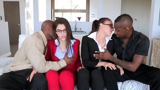 Business meeting ends with interracial group fucking