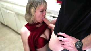 Mummy fucks sonny in the kitchen in front of her hubby