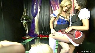 A group of strippers get out their toys and have an orgy