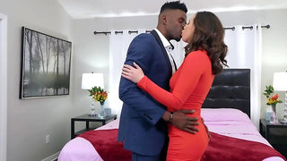 Hot brunette cheats on dumb hubby with his tall black boss