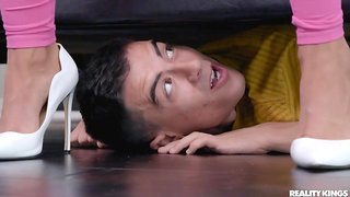 Dude hides under the bed to surprise hottie with his cock