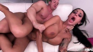 Busty tattooed brunette, Angelina Valentine weaves a tangled web with his cock