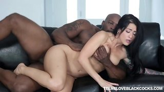 Young brunette hottie Katrina Jade got laid by African boss