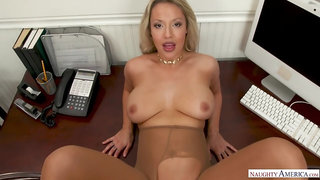 Ambitious office lady with blonde hair and big tits is giving hot blowjobs to her co- workers