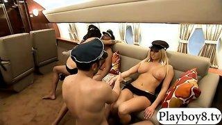 Passengers had fun with huge boobs flight attendants