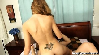 Skinny brunette Alexis Paige climbs on his cock and rides him hard