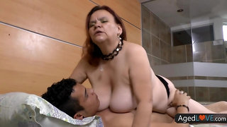 Busty granny, Gloria is mostly fucking younger guys, because they know how to make her cum