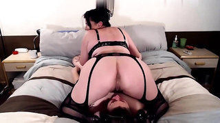 Femdom in lingerie demands tiny dick fucking