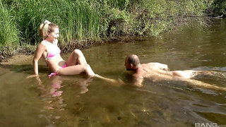 Smooth fucking by the lake with nice tits amateur Marchy Rock