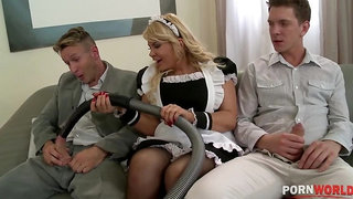 Dream maid Tiffany Kingston works two big veiny cocks for loads of cum GP1044