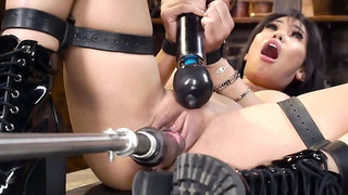 Slim Latina chick with big boobs dominated in the basement