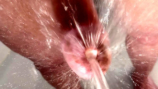 Cleaning my dick and peehole under the shower