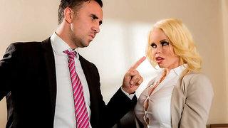 Sensual blonde with gorgeous tits Nikki Delano likes intense sex