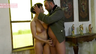 Busty brunette, Roberta Gemma is sucking cock as if she was a real pro and enjoying it