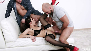 Bitch in sexy lingerie, rough couch threesome