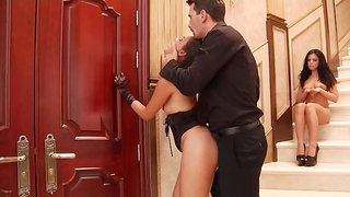 Obedient slave has to watch her mistress having sex with husband