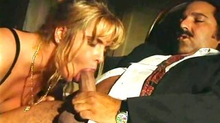 Hot Blonde In Black Lingerie Gags On Thick Dick Of Ron Jeremy