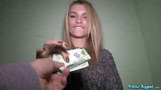 Blonde model takes money for a quickie sex in front of the camera
