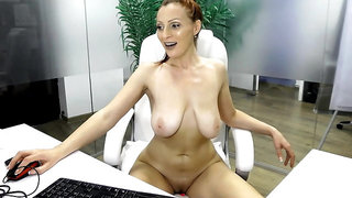 Busty Hungarian sucks nipples and dildos pussy on cam