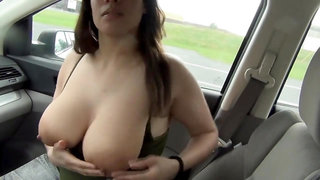 BIG TIT HITCHHIKER SUCK MALE STICK AND GETS MADE LOVE - amateur porn