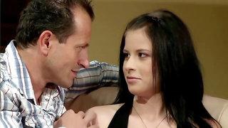 Amazing teen brunette seduced by older man