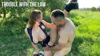 Horny officer Josephine Jackson fucks with biker outdoors